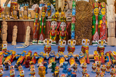 KOLKATA, WEST BENGAL , INDIA - JANUARY 12TH 2014   Wooden Artworks of handicraft, on display during the Handicraft Fair in Kolkata - the biggest handicrafts fair in Asia  photo
