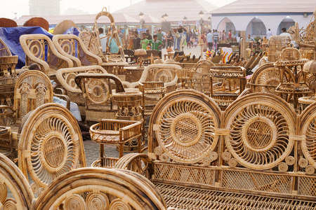 cane chair: Cane furniture handicrafts on display