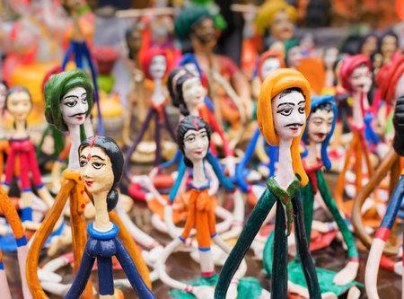 west bengal: KOLKATA, WEST BENGAL , INDIA - DECEMBER 12TH 2014 : Terracotta dolls, artworks of handicraft, on display during Handicraft Fair in Kolkata - the biggest handicrafts fair in Asia.