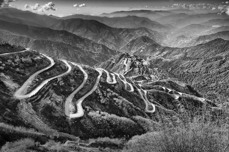 black silk: Beautiful Curvy roads on Old Silk Route, Silk trading route between China and India, Sikkim