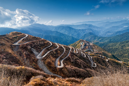 trade: Beautiful Curvy roads on Old Silk Route, Silk trading route between China and India, Sikkim