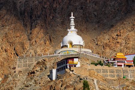 shanti: Shanti Stupa with view of Himalayan mountain in the background ,Ladakh,Jammu and Kashmir, India