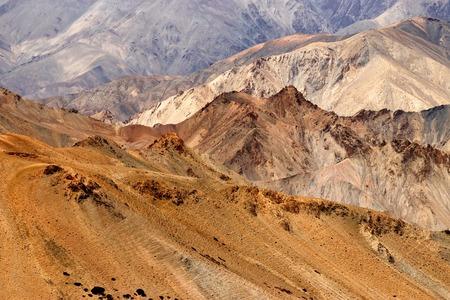 kashmir: Brown colourful rocks and stones - painting look formation , mountains , ladakh landscape Leh, Jammu & Kashmir, India Stock Photo