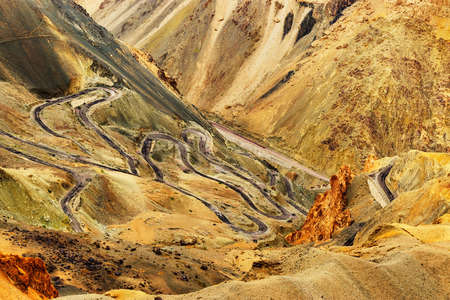Aerial view of Zigzag road  famously known as jilabi road at old route of  Leh Srinagar Highway Ladakh Jammu and Kashmir India