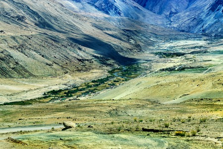 valley view: Rocky mountains with touch of green land of Ladakh Jammu and Kashmir India