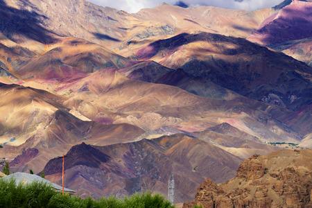 kashmir: aerial view of Leh ladakh landscape, Jammu and Kashmir, India Stock Photo