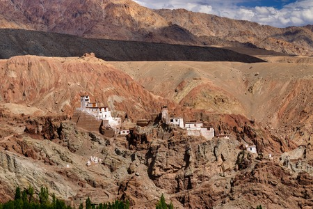 kashmir: Ruins and Basgo Monastery surrounded with stones and rocks , Leh, Ladakh, Jammu and Kashmir, India