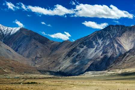 formations: aerial view of snow peaks, Leh ladakh landscape, cloud formation , Jammu and Kashmir, India