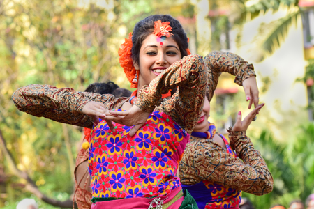 bengali: KOLKATA , INDIA - MARCH 5, 2015 : Young girl dancers performing at Holi  Spring festival, known as Dol in Bengali or Holi in Hindi celebrating arrival of Spring in India. A very popular festival amongst Bengalis.