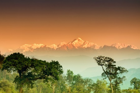 tourist site: Beautiful view of trees of Silerygaon Village with Kanchenjunga mountain range at the background, moring light, at Sikkim, India Stock Photo