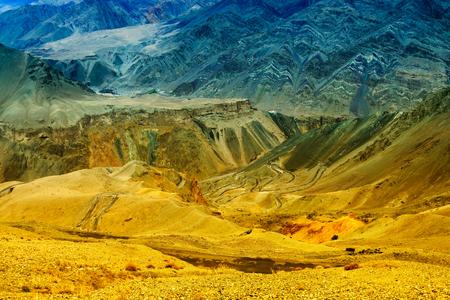 aerial photograph: Beautiful aerial view of moonland , Himalayan mountain background, Ladakh,Jammu and Kashmir, India. Stock photograph of Ladakh.