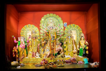 hinduism: KOLKATA , INDIA - OCTOBER 21, 2015 : Beautifully interior of decorated Durga Puja pandal, at Kolkata, West Bengal, India. Durga Puja is biggest religious festival of Hinduism. Editorial