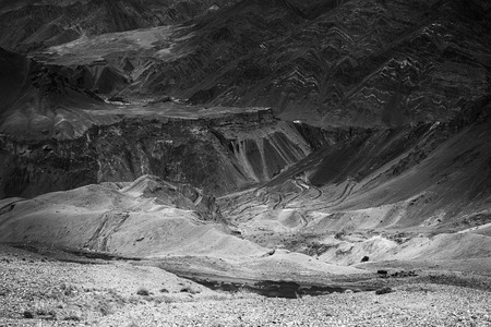aerial photograph: Beautiful black and white aerial view of moonland , Himalayan mountain background, Ladakh,Jammu and Kashmir, India. Stock photograph of Ladakh.