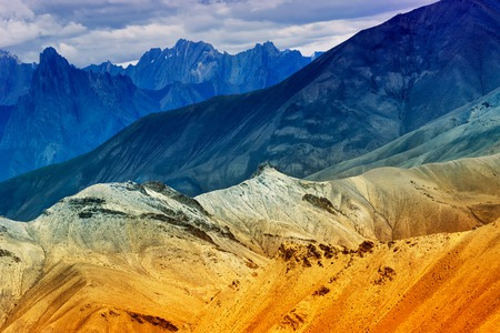 Nice colourful rocks of Moonland, landscape Leh, Jammu Kashmir, India. The Moonland, part of Himalayan mountain, is famous for its rock formation and texture which looks like a part of moon on earth. Stock Photo