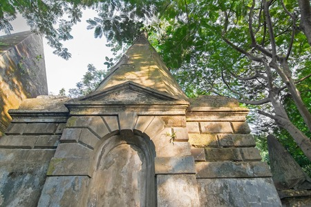 gravesite: KOLKATA, WEST BENGAL , INDIA - NOVEMBER 2ND 2014 : Old cemetery at south Park Street, Kolkata. It is one of the earliest non-church cemetaries in the world, heritage site of Kolkata, earlier Calcutta, Editorial