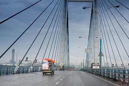 Vidyasagar Setu (Bridge) over river Ganges, known as 2nd Hooghly Bridge in Kolkata,West Bengal,India. Connects Howrah and Kolkata, two big cities of West Bengal. Longest Cable - stayed bridge in India.
