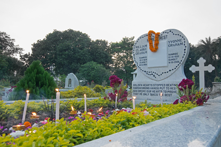 gravesite: KOLKATA, WEST BENGAL , INDIA - NOVEMBER 2ND 2014 : All souls day remembrance at old cemetary at south Park Street, Kolkata. It is one of the earliest non-church cemetaries in the world.