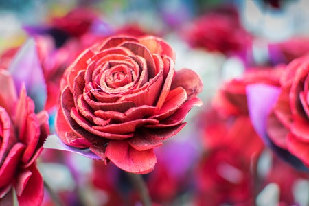 Artificial Rose flowers made out of colored sola, spngewood, handicrafts on display during the Handicraft Fair in Kolkata , earlier Calcutta, West Bengal, India. It is the biggest handicrafts fair in Asia.