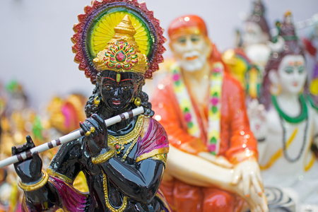Clay idol of Lord Krishna, handicrafts on display during the Handicraft Fair in Kolkata , earlier Calcutta, West Bengal, India. It is the biggest handicrafts fair in Asia.
