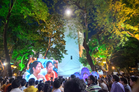 KOLKATA, WEST BENGAL , INDIA - 9TH MAY 2017 : Chief Minister of West Bengal, Ms. Mamata Banerjee, smiling to the audience from screen at Rabindra Jayanti celebration (birthday of Late Poet Rabindranath Tagore). Editorial