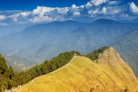 Tarey Bhir point is a favourite tourist spot.The word Bhir means cliff in the local Nepal language,about 10,000 feet long path, a breathtaking viewpoint at the edge, people get spectacular views. Stock Photo