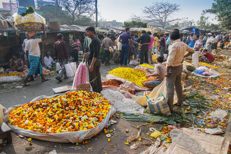 west bengal: KOLKATA, WEST BENGAL  INDIA - FEBRUARY 13TH, 2016 : Buying and selling of flowers in crowded and colorful Mallik Ghat or Jagannath ghat flower market in Kolkata. Biggest flower market in Asia.
