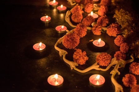 Deepabali , Deepavali or Deepawali - the festival of lights, is widely celebrated in India and now all over the world. Rangoli Diyas - colourful and decorated candles are lit in night to throw away darkness, on this auspicious occassion. Stock Photo - 80754610