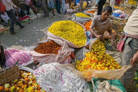 goffo: KOLKATA, WEST BENGAL  INDIA - FEBRUARY 13TH, 2016 : Buying and selling of flowers in crowded and colorful Mallik Ghat or Jagannath ghat flower market in Kolkata. Biggest flower market in Asia.