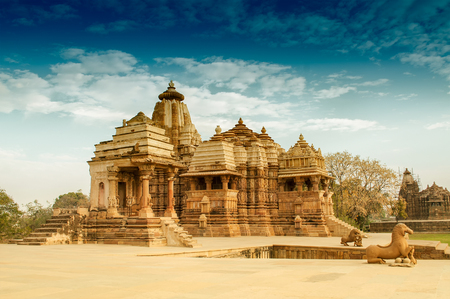 Devi Jagdambi Temple, dedicated to Parvati, Western Temples of Khajuraho. its an UNESCO world heritage site - popular amongst tourists all over the world. Stock Photo