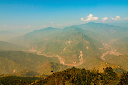 Ramitey view point - Sikkim, India. From this view point, twists and turns of river Tista or Teesta can be seen below, River Tista flows through sikkim state, Stock Photo