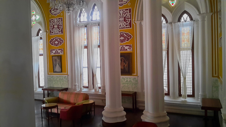 BENGALURU, INDIA - FEBRUARY 20, 2017: Interior decoration of famous Bangalore Palace. It was private residence of the royal Wodeyar family. It is filled with rare collection of art and paraphernalia from a bygone era. Editorial