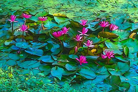 スイレン nouchali または共通名赤いスイレン [睡蓮] スイレン咲くのオイル ペイント イラストはスイレン属のスイレンです。スリランカとバングラデ 写真素材