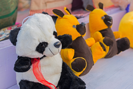 Colourful dolls of bears, cubs of bears, artworks of handicraft, at Handicraft Fair in Kolkata - the biggest handicrafts fair in Asia.
