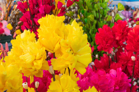 Artificial Rose flowers made out of colored sola, spongewood, handicrafts on display during the Handicraft Fair in Kolkata , West Bengal, India. It is the biggest handicrafts fair in Asia.