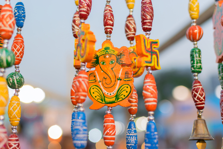 Colorful dolls made of clay, Lord Ganesha, handicrafts on display during the Handicraft Fair in Kolkata , earlier Calcutta, West Bengal, India. It is the biggest handicrafts fair in Asia.