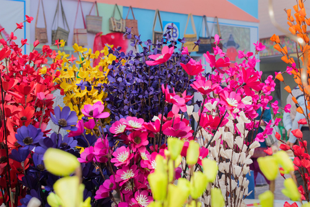 Paper made artificial colored flowers, handicrafts on display in Handicraft Fair in Kolkata - the biggest handicrafts fair in Asia.