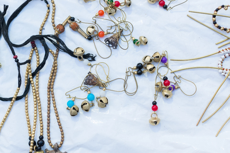 Necklaces, handicrafts on display during the Handicraft Fair in Kolkata , earlier Calcutta, West Bengal, India. It is the biggest handicrafts fair in Asia. Stock Photo