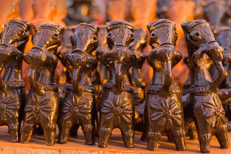 Clay made horses , terracotta handicrafts of Bankura and Bishnupur , on display during the Handicraft Fair in Kolkata , West Bengal, India. It is the biggest handicrafts fair in Asia.
