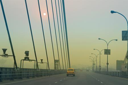 Vidyasagar Setu (Bridge) over river Ganges, 2nd Hooghly Bridge in Kolkata,West Bengal,India. Shot in winter morning. Connects Howrah and Kolkata, Longest Cable - stayed bridge in India.
