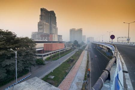 KOLKATA, WEST BENGAL , INDIA - JANUARY 26TH 2017 : Parama Island flyover, popularly known as Ma or Maa flyover is a 4.5 kilometer long flyover in Kolkata.. From Alipore to Eastern Metropolitan Bypass of Kolkata.