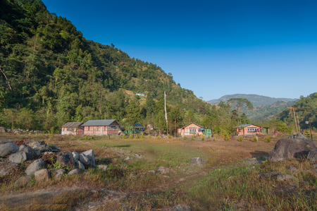 Reshikhola village, Himalayan mountain range in the background . Reshikhola is a remote village with breathtaking scenic natural vista of world famous Himalayas in background, in Sikkim, India.