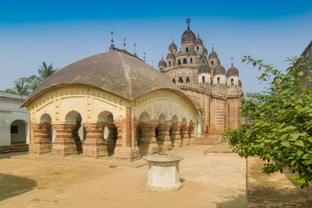Lalji temple of Kalna, West Bengal, India - It is one of oldest temples of lord Krishna (a Hindu Gd) at Kalna with terracotta art works on the temple walls. Stock Photo