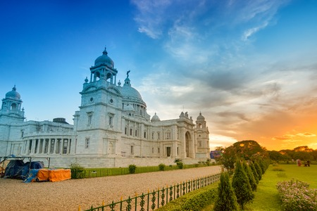 Sunset at Victoria Memorial, Kolkata , Calcutta, West Bengal, India . A Historical Monument of Indian Architecture. Built to commemorate Queen Victoria's 25 years reign in India.