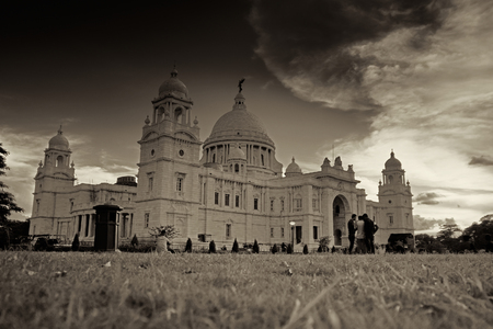 Sunset at Victoria Memorial, Kolkata , Calcutta, West Bengal, India . A Historical Monument of Indian Architecture. Built to commemorate Queen Victoria's 25 years reign in India. Black and white image