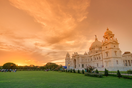 Sunrise at Victoria Memorial, Kolkata , Calcutta, West Bengal, India . A Historical Monument of Indian Architecture. Built to commemorate Queen Victoria's 25 years reign in India.