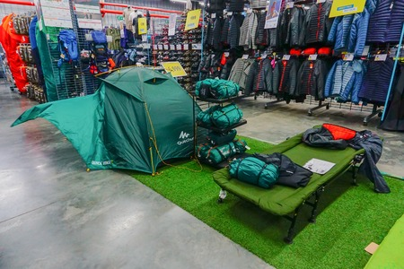 ULUBERIA, HOWRAH, WEST BENGAL / INDIA - 18TH MARCH 2018 : Colorful tents are on display at Dechathlon S.A. store , world's largest sporting goods retailer. Editorial stock image.