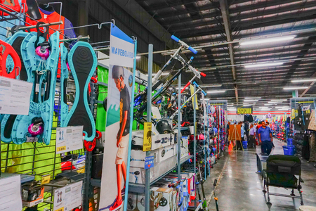 ULUBERIA, HOWRAH, WEST BENGAL / INDIA - 18TH MARCH 2018 : waveboard related sports equipements on display at Dechathlon S.A. - world's largest sporting goods retailer. Editorial stock image.