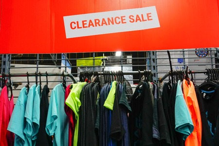 ULUBERIA, HOWRAH, WEST BENGAL / INDIA - 18TH MARCH 2018 : Sports clothes are on display at Dechathlon S.A. - world's largest sporting goods retailer. Clerance sale - editorial stock image.