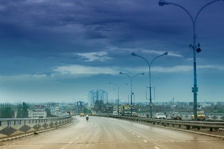 Vidyasagar Setu (Bridge) over river Ganges, known as 2nd Hooghly Bridge in Kolkata,West Bengal,India. Connects Howrah and Kolkata, Blue sky in background