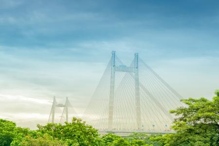 Vidyasagar Setu (Bridge) over river Ganges, 2nd Hooghly Bridge. Connects Howrah and Kolkata, Longest Cable - stayed bridge in India. Stock Photo